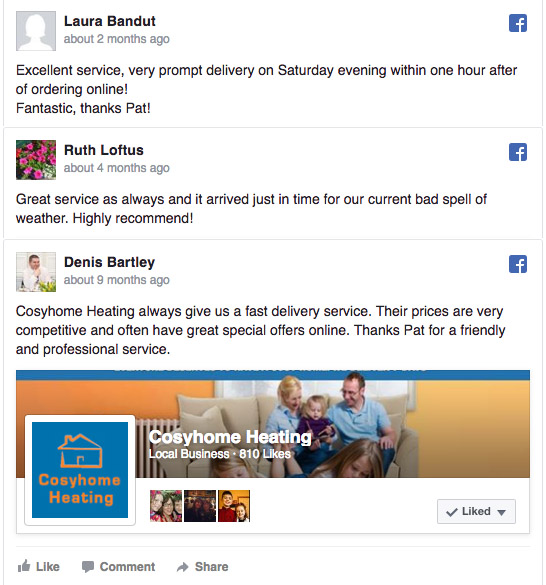 More Facebook Reviews from Cosyhome Heating Happy Customers