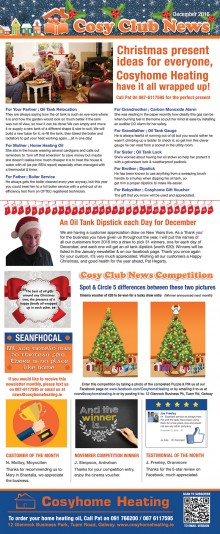 Cosy Club News - December 2016