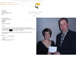 Pat & Lisa from Something to Sing About Choir with the letter from STSA