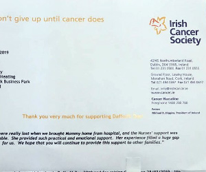 Letter from the Irish Cancer Society to show support for Daffodil Day 2019